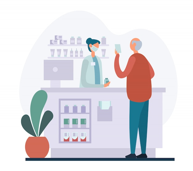 Medicina d'acquisto dell'uomo anziano in farmacia
