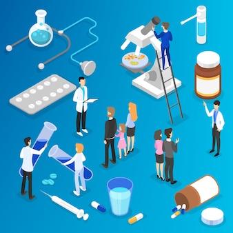 Medicina e concetto di assistenza sanitaria. il dottore fa ricerche mediche in ospedale. trattamento della malattia e formulazione della diagnosi. illustrazione isometrica di vettore
