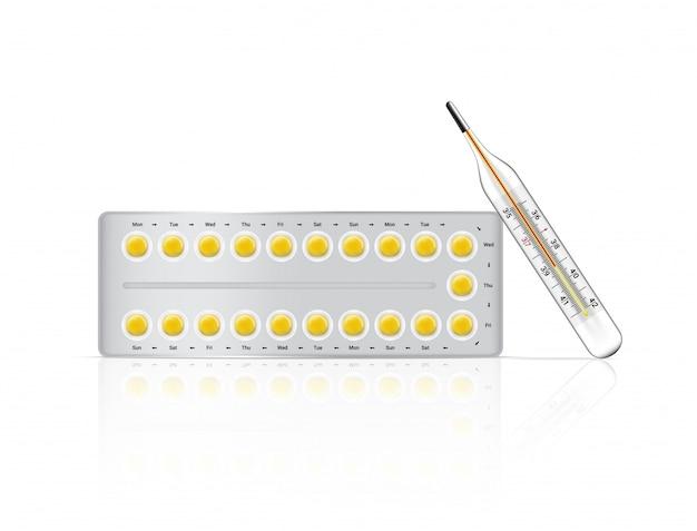 Medicina realistica delle pillole di nascita con imballaggio e termometro