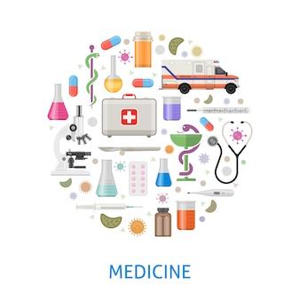 Medicina rotonda design piatto con microscopio ambulanza pillole strumenti professionali batteri
