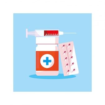 Medicine e bottiglia di pillole