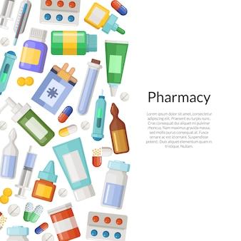 Medicine, pillole e pozioni con posto per il testo