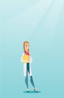 Medico amichevole con uno stetoscopio e un file.