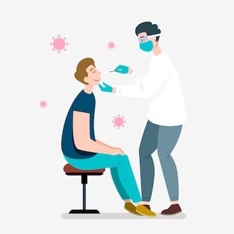 Medico che applica un test di tampone nasale