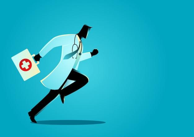 Medico che corre con la valigia