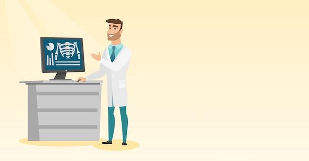 Medico che esamina un'illustrazione di vettore della radiografia.