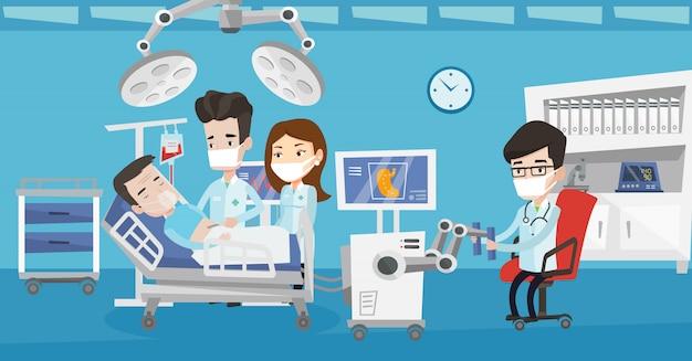Medico che esegue un'operazione che coinvolge robot.