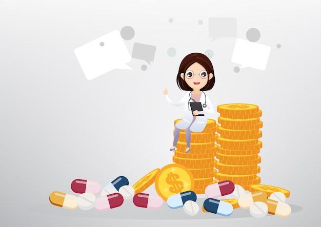Medico che si siede sul concetto di monete, affari e assistenza sanitaria