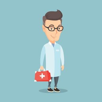 Medico che tiene l'illustrazione di vettore della scatola del pronto soccorso.