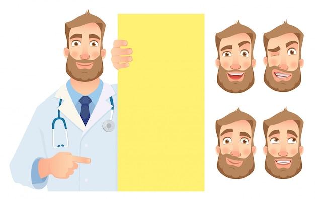 Medico che tiene l'insieme in bianco dell'insegna