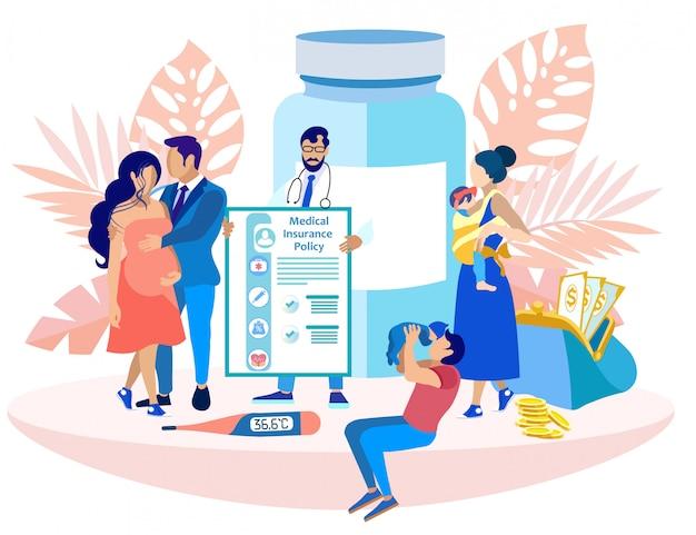 Medico con assicurazione medica. assicurare la salute.