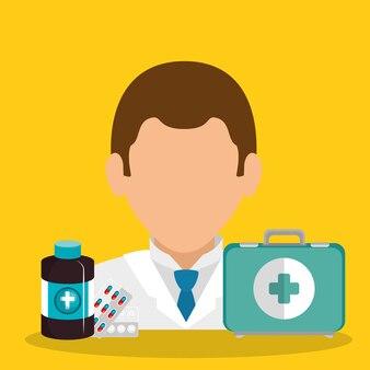 Medico con attrezzature mediche