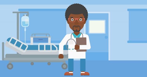 Medico con file in studio medico.