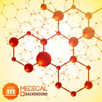 Medico con illustrazione realistica di simboli di medicina e scienza di biologia
