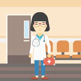 Medico con illustrazione vettoriale scatola di pronto soccorso.