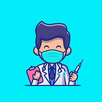 Medico con iniezione e appunti icona del fumetto illustrazione. persone professione icona concetto isolato. stile cartone animato piatto