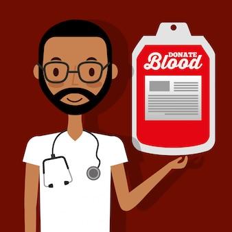 Medico con lo stetoscopio che tiene la borsa del sangue donare