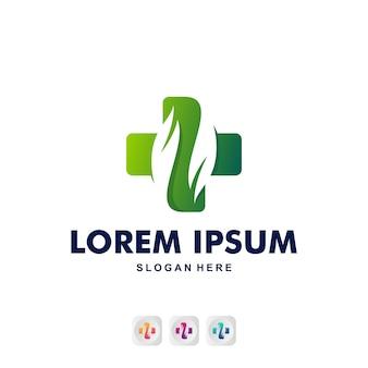 Medico con logo foglia premium