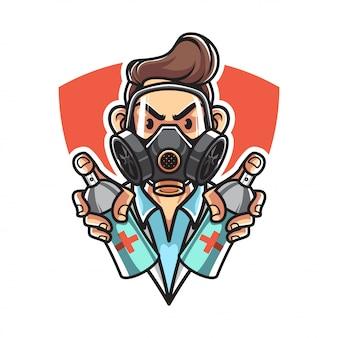 Medico con mascherina medica con spray disinfettante