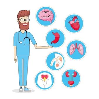Medico con prevenzione diagnosi stetoscopio e illnes