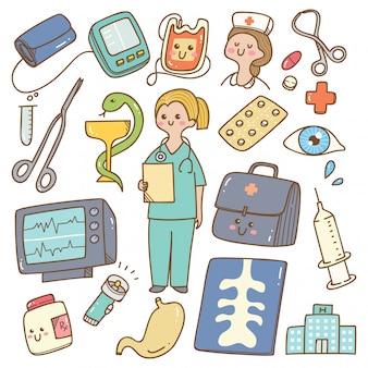 Medico del fumetto kawaii con attrezzature mediche