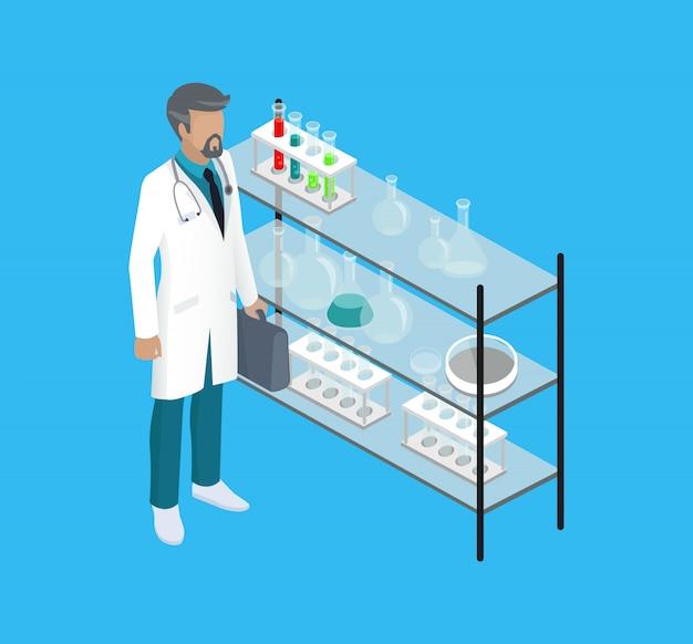 Medico del lavoratore medico nell'illustrazione di vettore del laboratorio