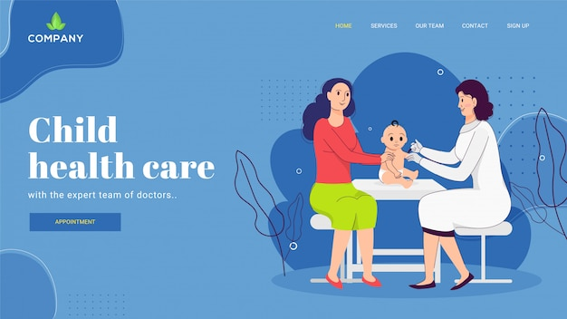 Medico del pediatra che fa iniezione al bambino con la madre per il concetto di sanità del bambino. progettazione di pagine web o di destinazione.