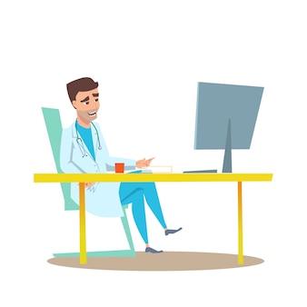 Medico dell'uomo nell'illustrazione piana interna dell'ufficio.