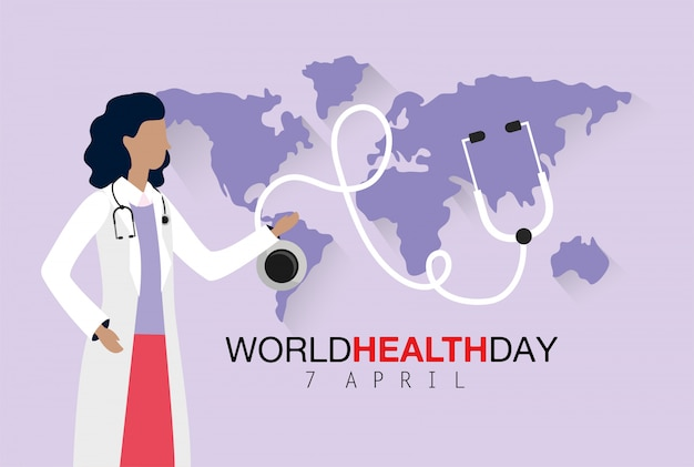 Medico della donna con lo stetoscopio al giorno di salute