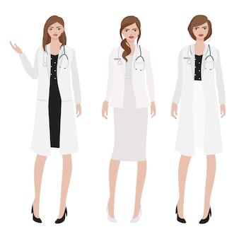 Medico della donna di stile piano con lo stetoscopio