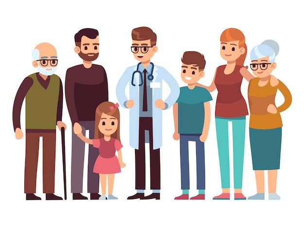 Medico di famiglia. grande famiglia di salute felice con terapista, servizio professionale di assistenza sanitaria di bambini genitori pazienti, disegno vettoriale piatto