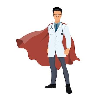Medico di super eroe dei cartoni animati con mantello rosso.