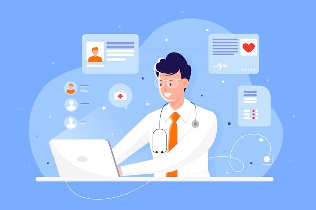Medico di tecnologia online di salute con il computer portatile