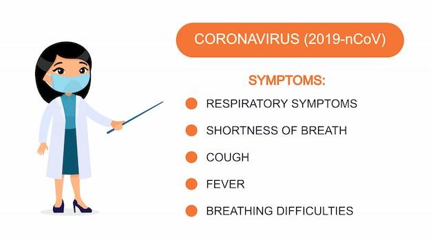 Medico donna asiatica mostra un elenco di sintomi di coronavirus. personaggio con una maschera respiratoria sul viso. infografica di protezione da virus.