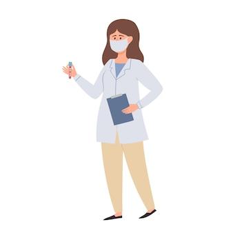 Medico donna in piedi in maschera protettiva con tubo di sangue