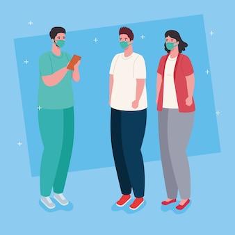 Medico e pazienti che indossano mascherina medica contro l'illustrazione covid19