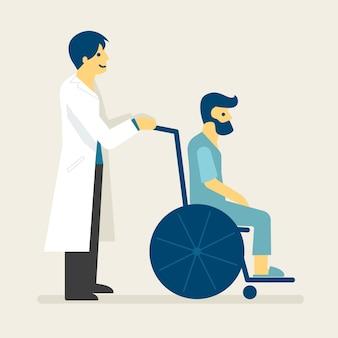 Medico e un paziente sull'illustrazione della sedia a rotelle.