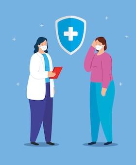 Medico femmina con donna malata utilizzando la maschera