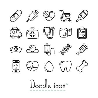 Medico. icone sveglie di doodle.