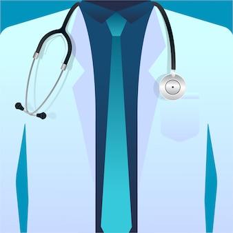 Medico in camice da laboratorio con stetoscopio