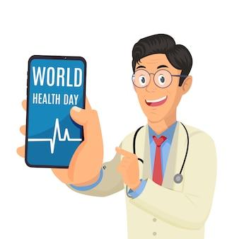 Medico in possesso di telefono e mostrando le parole giornata mondiale della salute