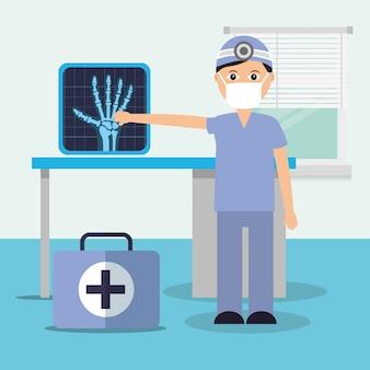 Medico in sala diagnostica e valigetta di consultazione