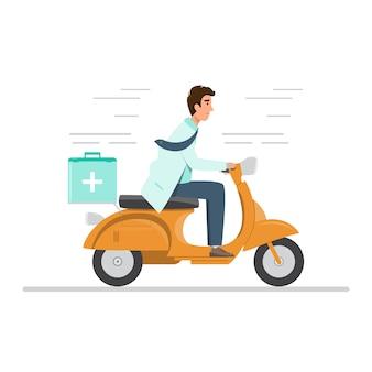 Medico in uniforme in sella a una moto con kit di primo soccorso medico