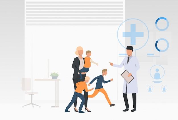 Medico in visita della grande famiglia