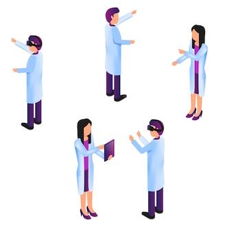 Medico isometrico di gruppo in processo realtà virtuale