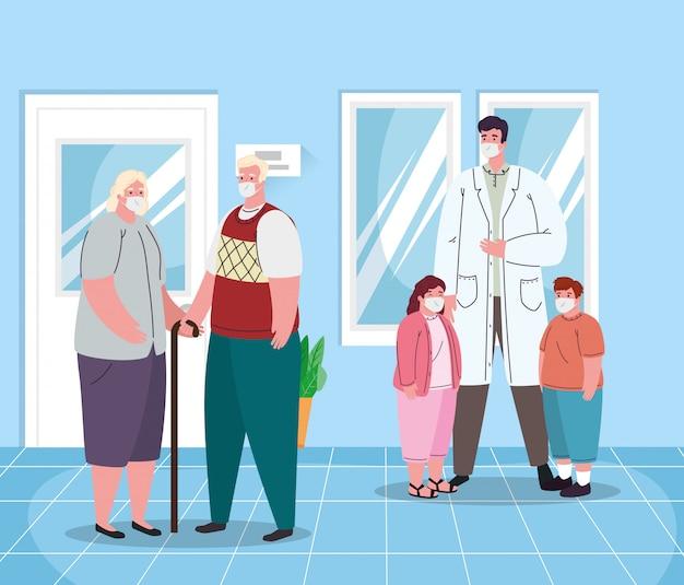 Medico maschio anziani e bambini con maschere