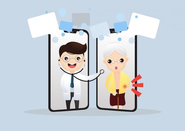 Medico mobile. medico sorridente sullo schermo del telefono.