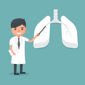Medico mostra il sistema polmonare. illustrazione.