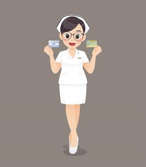 Medico o infermiere della donna del fumetto che indossa i vetri marroni in uniforme di bianco
