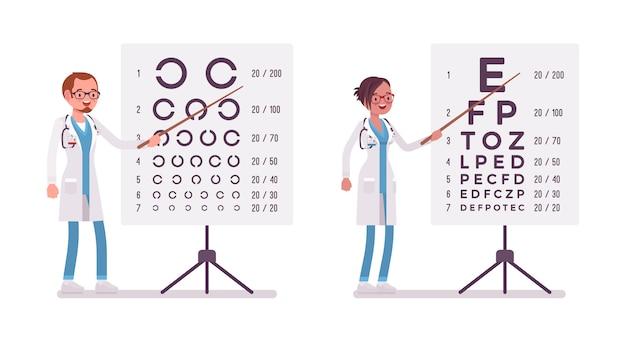 Medico oculista maschio e femmina. persone in uniforme ospedaliera in piedi vicino al diagramma di prova dell'occhio. concetto di medicina e assistenza sanitaria. stile cartoon illustrazione su sfondo bianco